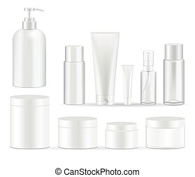 Cosmetic bottles packaging set vector illustrations.
