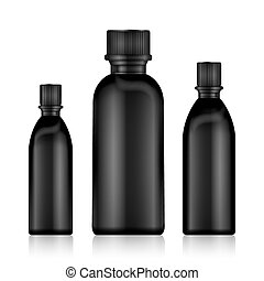 Cosmetic Bottles. Realistic Black Bottle For Essential Oil And Tube Or Container  Cream, Ointment, Lotion. Mock Up set.  Vial, Flask, Dropper-, Shampoo. Vector Illustration.