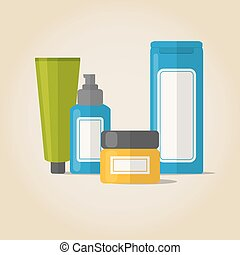 Cosmetic bottles set in flat style
