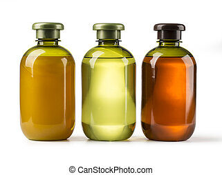 cosmetic bottles - Shampoo bottle on a white background with...
