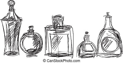 cosmetic bottles - black line drawing of cosmetic bottles on...