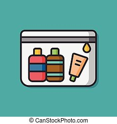 cosmetic bottles vector icon