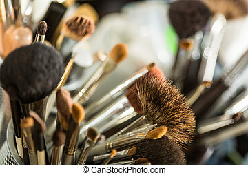 Cosmetic brushes for makeup - Close up view of different ...