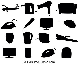 Cosmetic, cleaning and heating appliances - vector illustration
