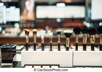 Cosmetic collection, brushes in makeup shop