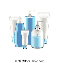 Cosmetic collection isolated on white vector