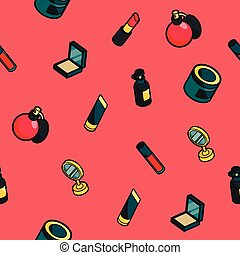 Cosmetic color outline isometric pattern