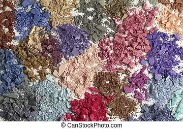 Cosmetic colors. Eyeshadow, powder, blushon