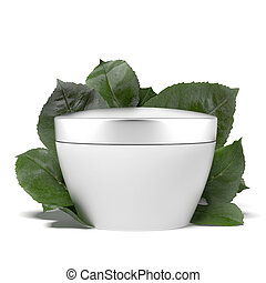 cosmetic container with green leafs