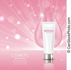 Cosmetic Cream and drop on pink background Advertising Poster