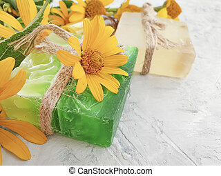 cosmetic cream, calendula flower soap
