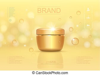 Cosmetic cream container template, with sparkling background and golden transparent liquid drops elements. 3D vector illustration for ads or magazine.