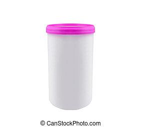 Cosmetic Cream, Gel Or Powder, Light Gray, White, Jar Can Cap Bottle.