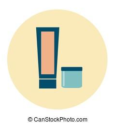 Cosmetic, cream icons in round, flat design. Vector illustration