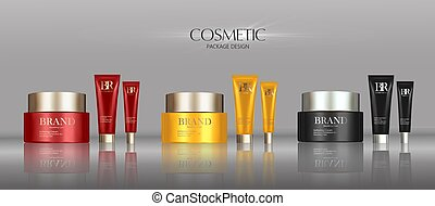 Cosmetic cream package set, blank containers