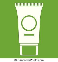 Cosmetic cream tube icon green - Cosmetic cream tube icon...