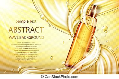 Cosmetic hair care oil with liquid splashes