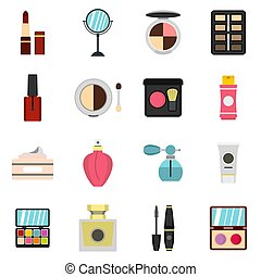 Cosmetic icons set, flat style