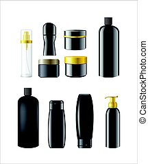 Cosmetic Items Packaging - realistic vector set of objects