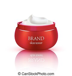 Cosmetic jar on white background. Vector illustration