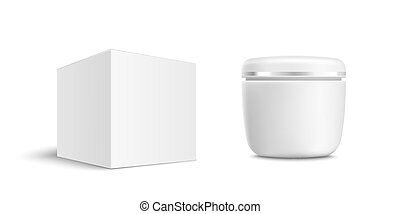 Cosmetic jar or white container and carton box mockup vector...