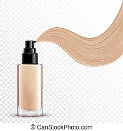 Cosmetic liquid foundation for makeup on transparent...