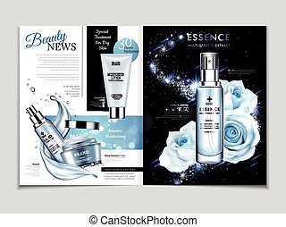 Cosmetic magazine template, gorgeous rose essence in blue...