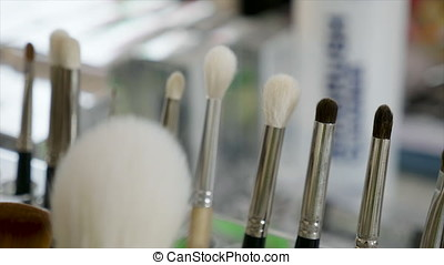 Cosmetic makeup brushes products. Beauty industry