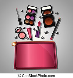 cosmetic makeup products beauty fashion set