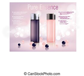 Cosmetic moisturizing brand product. Shiny pink and purple serum bottle with soft bokeh background. Vector 3D translucent bottle illustration.