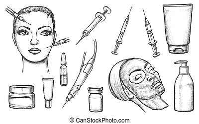 Cosmetic or skincare, cosmetology sketches