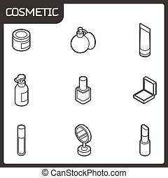Cosmetic outline isometric icons