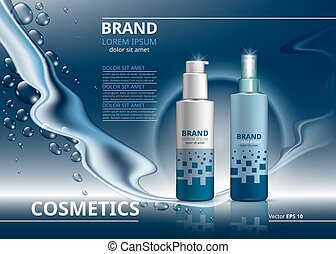 Cosmetic package ads template. Skin care gel or mousse bottles. Mockup 3D Realistic illustration. Sparkling water drops background