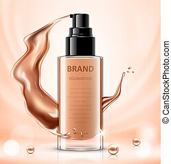 Cosmetic package design, foundation bottle mockup for design uses in complexion color tone. Vector realistic illustration