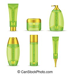 Cosmetic Packaging Set - Cosmetic packaging set in green...