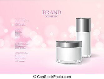 Cosmetic pink bottle package design with moisturizer cream