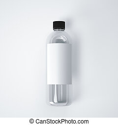 Cosmetic plastic bottle with blank label. 3d rendering
