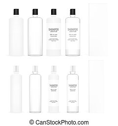 Cosmetic Plastic Bottles Beauty Product Set. Bottle For Gel, Shampoo, Lotion, Cream. White Clear Package
