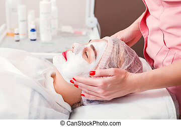 Cosmetic procedure in spa salon.