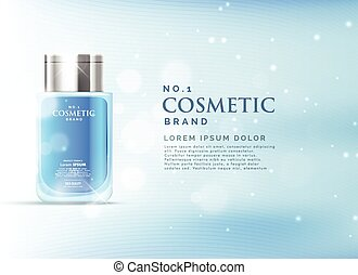 cosmetic product ads display concept template with beautiful blue bokeh background