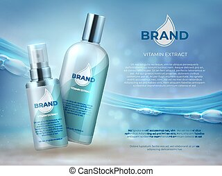 Cosmetic product background. Blue water beauty skin care fresh moisture cream bottle mask. Vector cosmetic promotion template