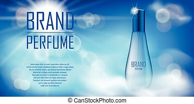 Cosmetic product bottle ad design. Realistic perfume container in cloudy sky background for your brand. Transparent perfume bottle template. Vector 3d illustration