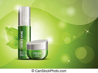 Cosmetic products ads design template with body cream and ...