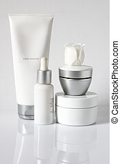 Cosmetic products - Set of cosmetic products in white and ...