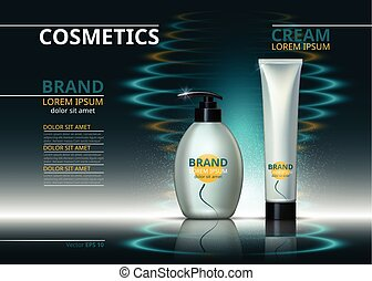 Cosmetic realistic package ads template. Skin care gel, body cream or handcream bottles. Mockup 3D illustration. Sparkling water drops background