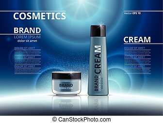 Cosmetic realistic package ads template. Hydrating face mask and body cream products in blue bottles. Mockup 3D illustration. Sparkling background