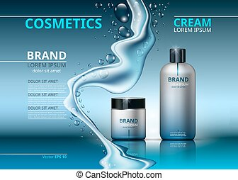 Cosmetic realistic package ads template. Face and body cream hydrating products in blue bottles. Mockup 3D illustration. Sparkling water drops background