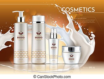 Cosmetic realistic package ads template. Hydrating Face and...