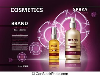 Cosmetic realistic package ads template. Hydrating skin oil...