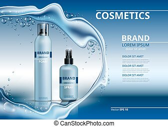 Cosmetic realistic package ads template. Body foam and hydrating spray gel products bottles. Mockup 3D illustration. Sparkling water drops background